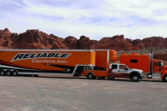 Reliable Carriers Driver Joe Foltz (the HotShot) and Egal Sharbit's beautiful new 2014 Kenworth and enclosed trailer in the Valley of Fire, Nevada on a GM photo shoot